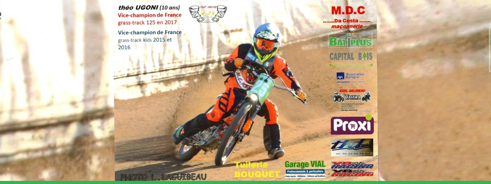Le garage Vial sponsorise le jeune prodige du grass-track, Théo Ugoni